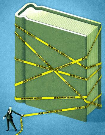 Businessman wrapping large book in crime scene tape