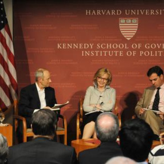 "Professor Michael J. Sandel spoke yesterday at a panel at the John F. Kennedy Jr. Forum with Professor Niall C.D. Ferguson, Wall Street Journal Columnist Peggy E. Noonan, and Harvard Law Professor Lani Guinier '71 on ""Justice."""