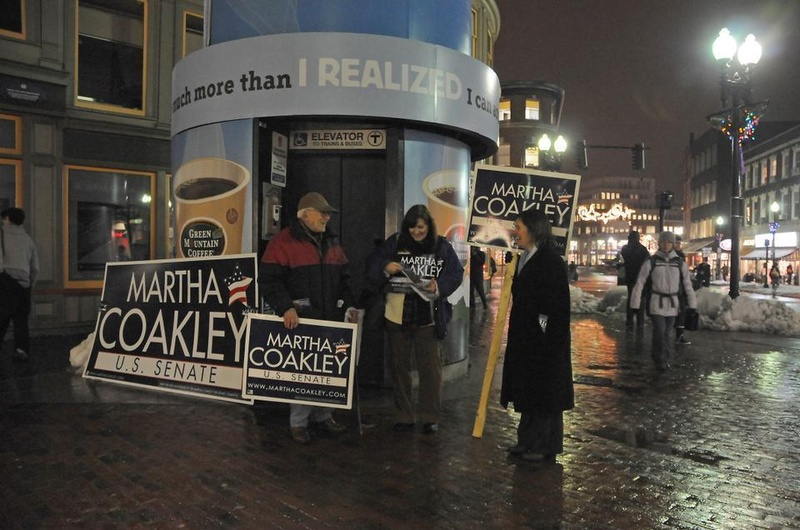 Coakley Supporters Stand Guard