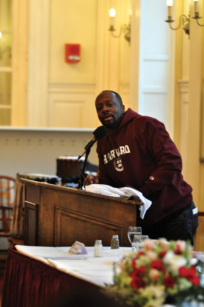 Haitian-American musician and producer, Wyclef Jean speaks at the Cultural Rhythms luncheon hosted by the Harvard Foundation.