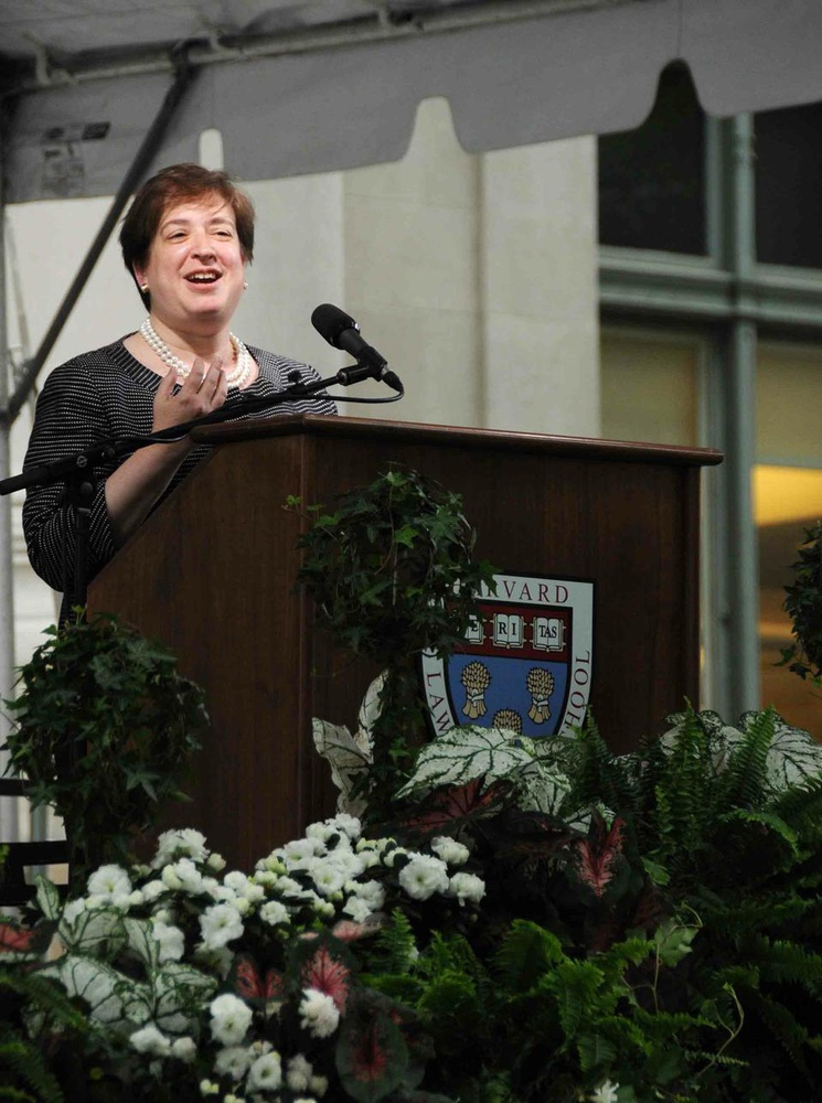 U.S. Solicitor General Elena Kagan speaks during Harvard Law School's Class of 2009 Class Day Exercises, when she urged graduates to pursue public service careers. Fellow law school professor and another reported candidate for the Supreme Court Martha Minow succeeded Kagan as Dean in July 2009.