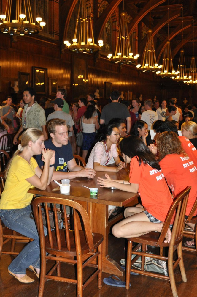 Freshmen listen as peer advisors offer guidance on concentrations and classes at the Choosing Courses study break in Annenberg last night.