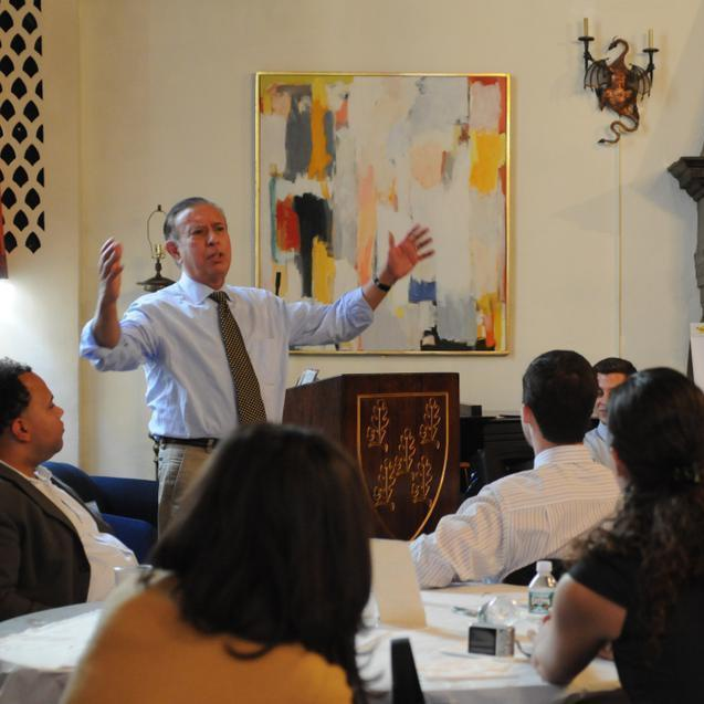 At the Harvard Cuban-American Alumni Conference, Professor Modesto Maidique, President Emeritus of Florida International University, gives a passionate talk on what makes a great leader last Saturday.