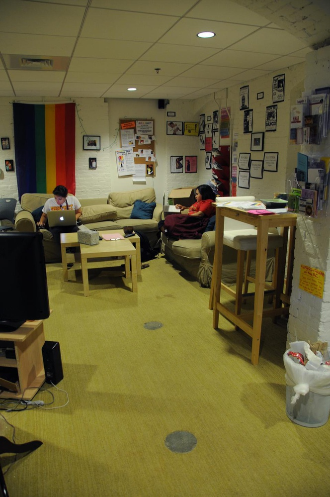 Students relax in the Queer Resource Center in the basement of Thayer Hall.