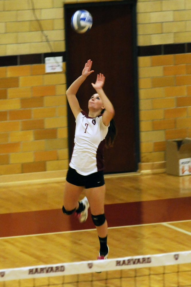 Harvard junior Olivia Staffon (7) shows off her jump serve in a game against Yale on Friday, November 11th.