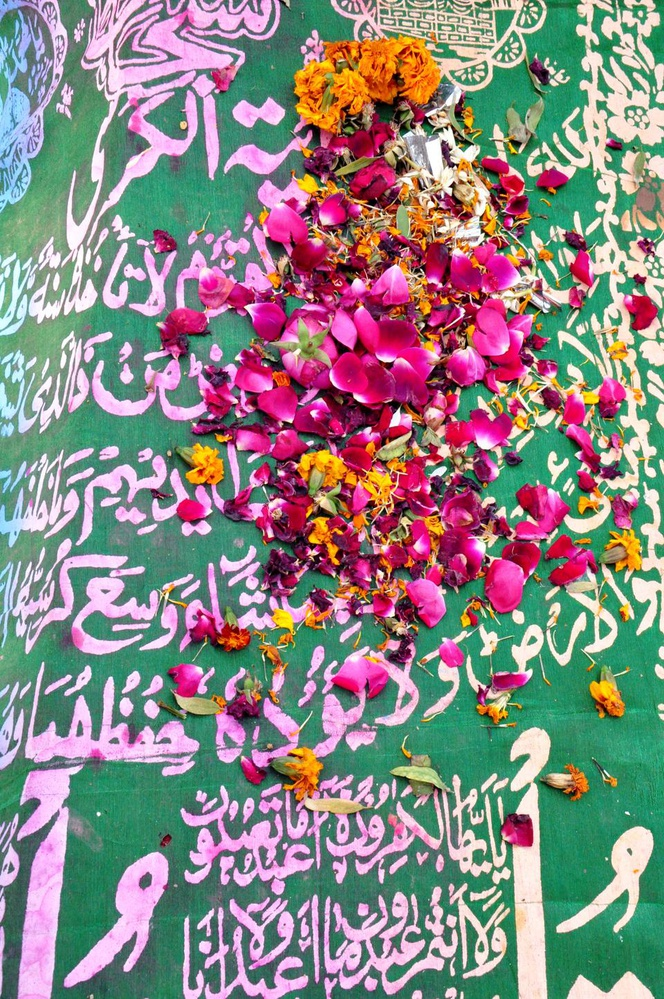Rose and marigold petals decorate the grave of one of the many qawwals who sang praises of the saint Baba Bulleh Shah.