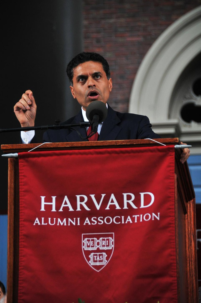 Renowned author, editor-at-large, and television host Fareed Zakaria PhD '93 addresses the thousands of parents, students, and alumni present at the afternoon exercises of the 361st Commencement. The ceremony took place on Thursday in Tercentary Theatre.