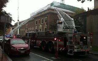 Fire trucks swarm the Fogg