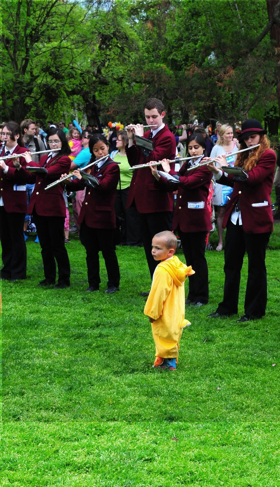 The Harvard University Band leads the Duckling Day Parade with a little help. Duckling Day is an annual event held to benefit the Boston Public Garden.