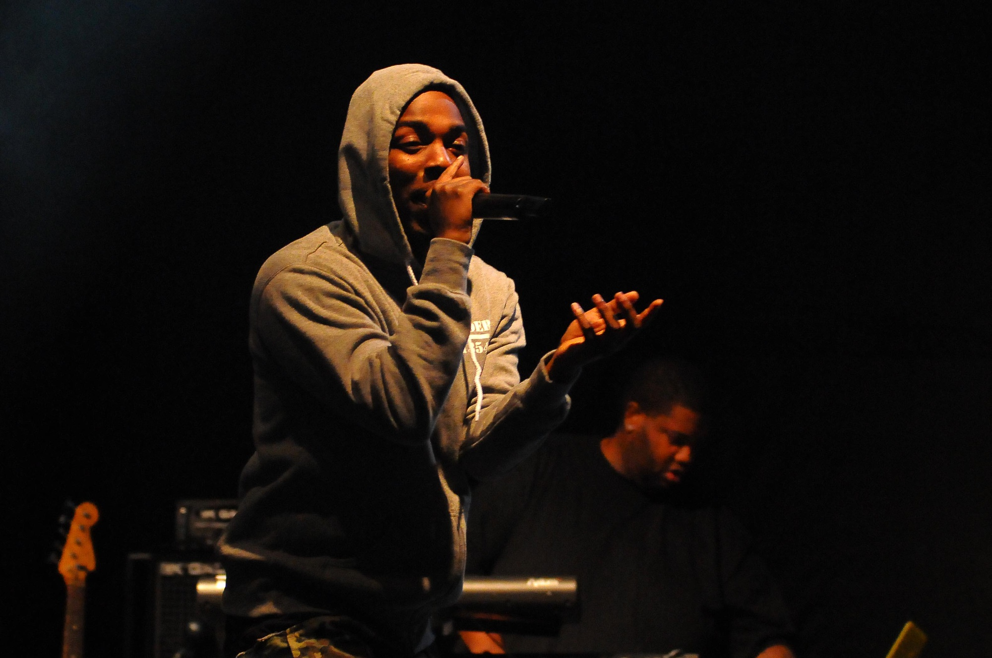 Kendrick Lamar keeps the crowd energetic even after sunset on the second day of the Festival.
