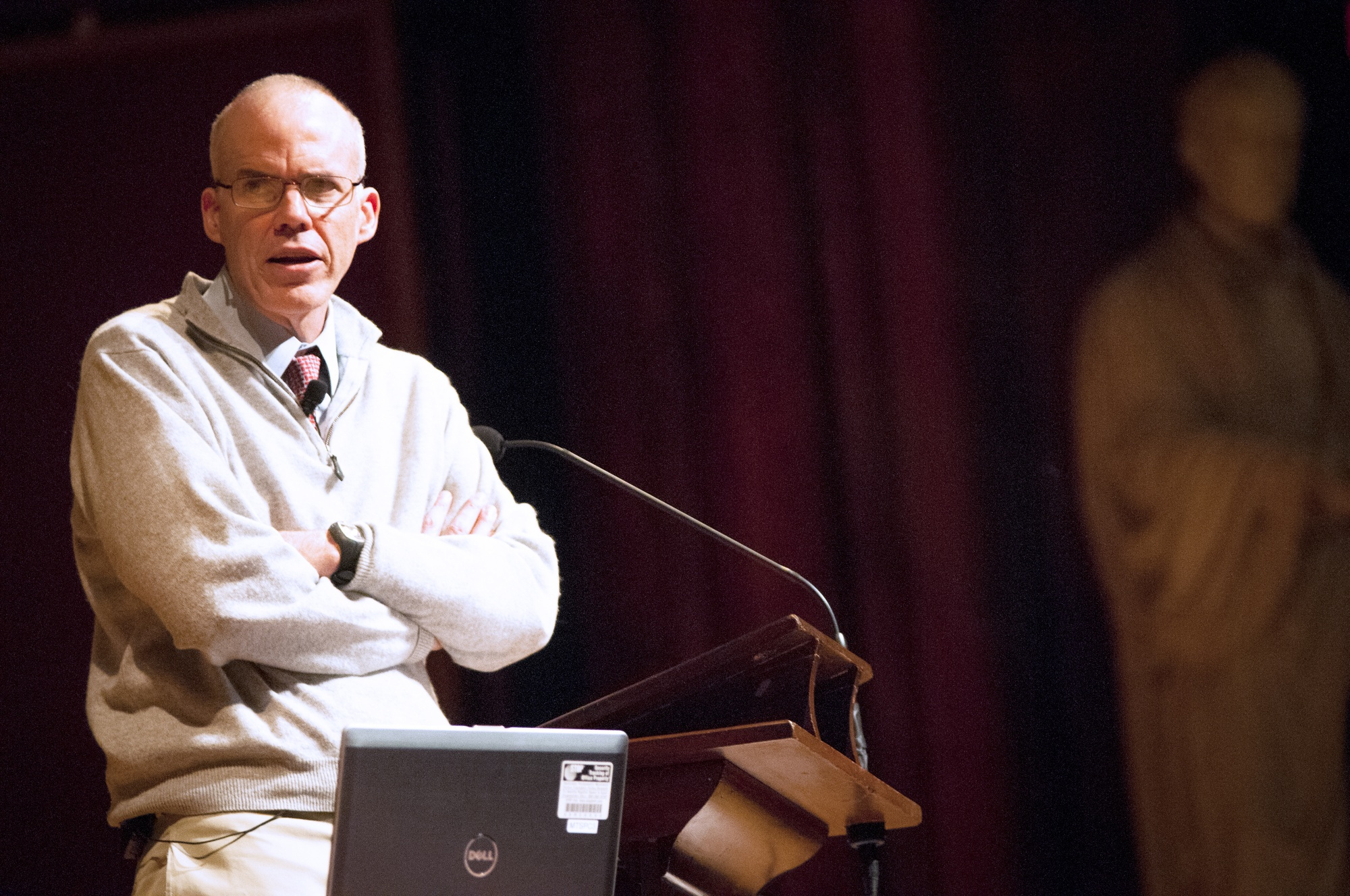 "Bill E. McKibben '82, environmentalist and author of ""The End of Nature,"" conducts a lecture on climate change and fossil fuel divestment at Sanders Theatre on Tuesday afternoon."