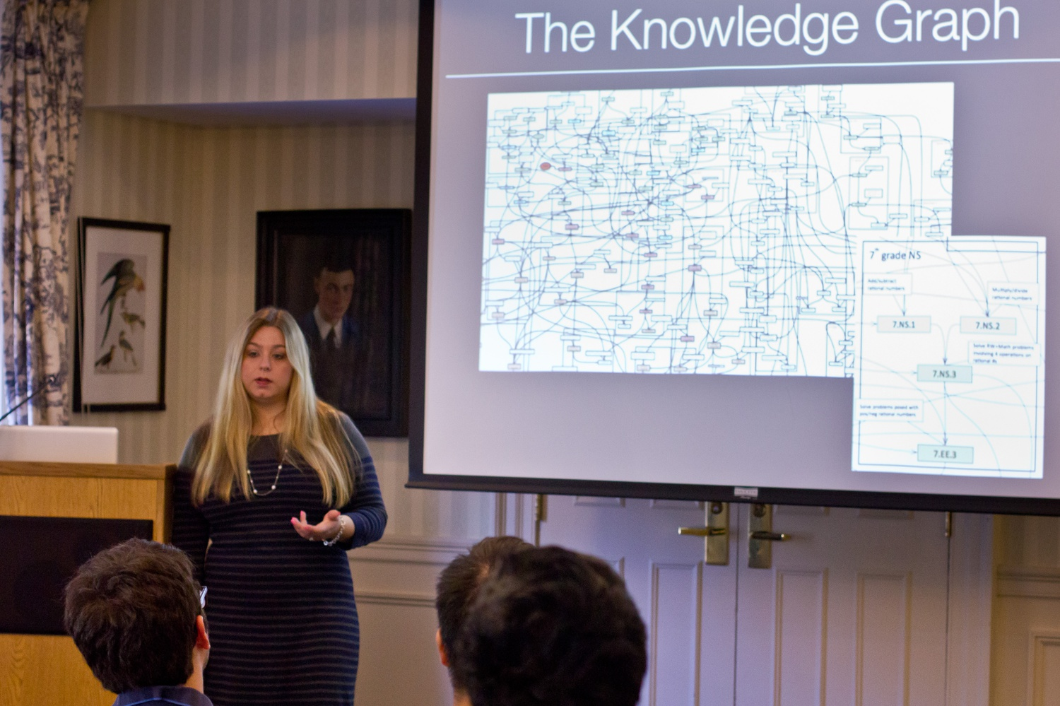 Stephanie Killian '05 a Software Engineering Manager of Knewton talks about their technology and challenges at an event in the Harvard Faculty Club. Knewton is a New York City-based adaptive learning company that uses data to personalize the delivery of online learning content.