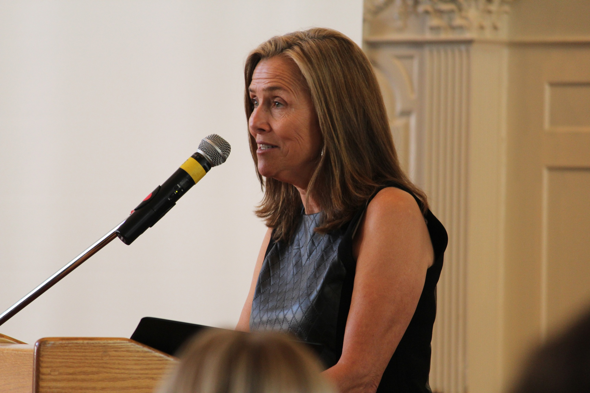 Meredith Viera, journalist and TV personality, hosts the Alzheimer's Symposium on Saturday.  The event was organized by Alzheimer's Buddies, a group on campus that meets weekly with patients affected by Alzheimer's.