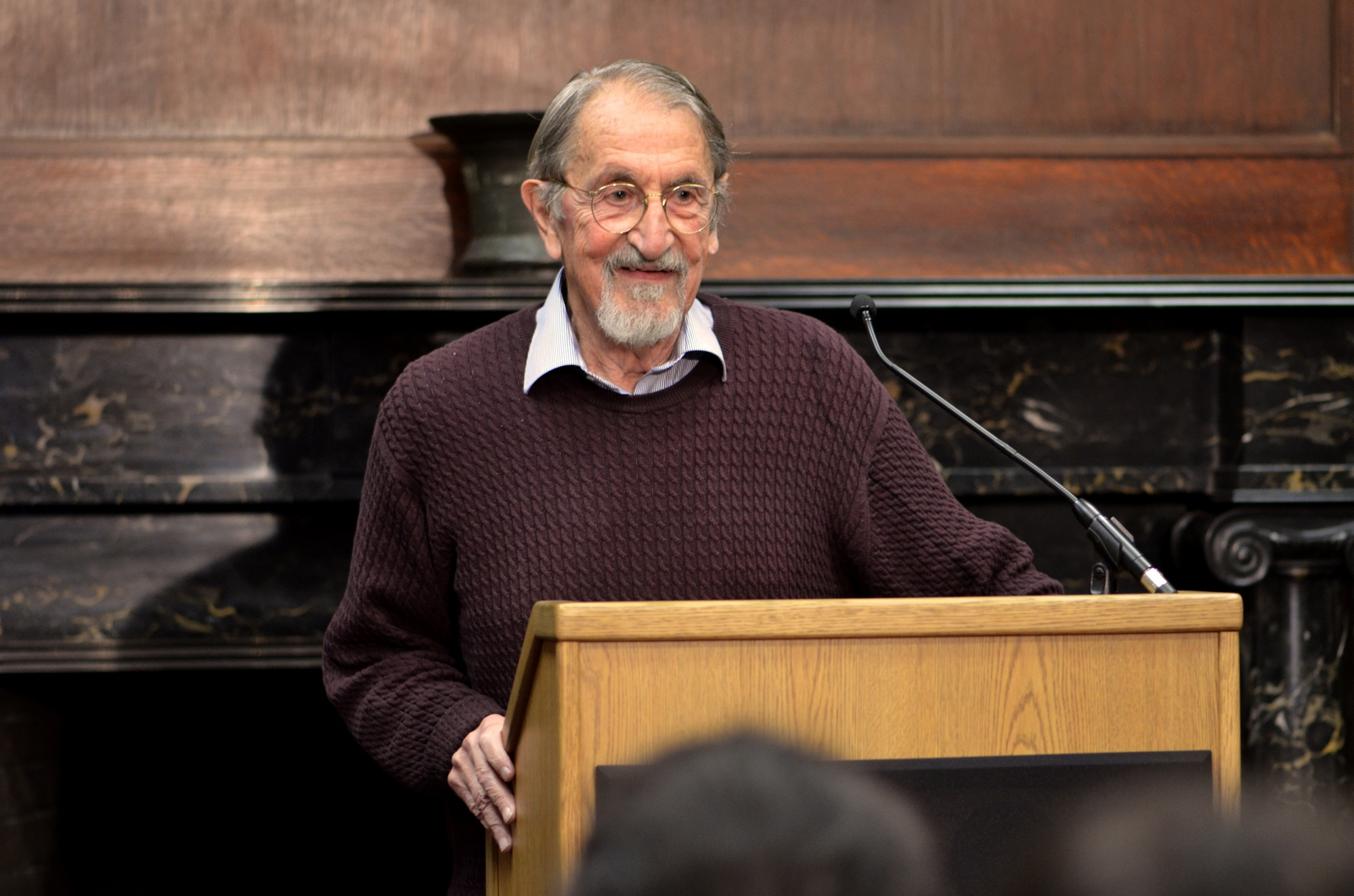 Chemistry professor emeritus Martin Karplus '51 speaks to the media in the Harvard University Chemistry Library on Wednesday, just hours after the Royal Swedish Academy of Sciences announced that he had won the Nobel Prize in chemistry.