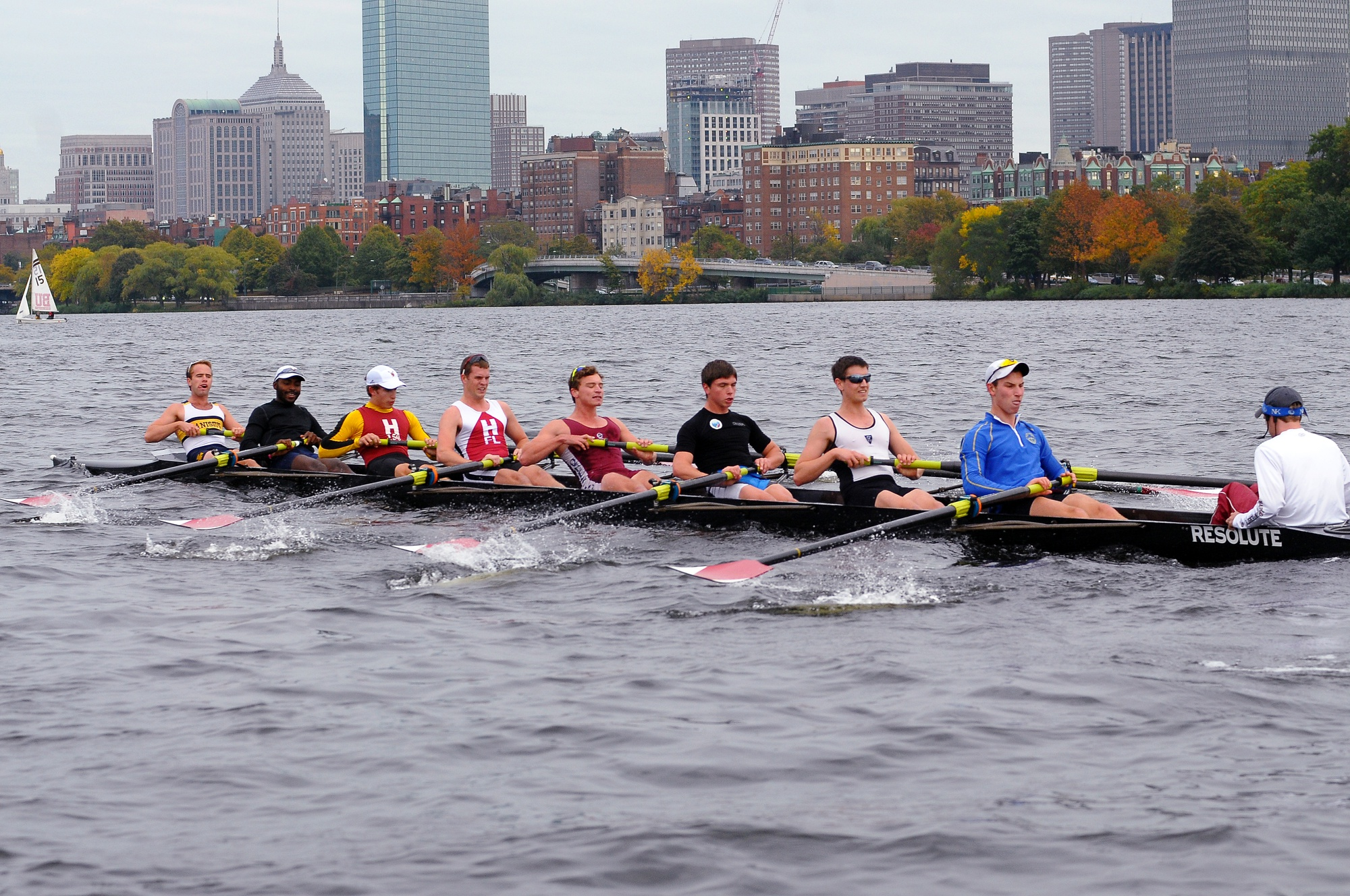 The men's lightweight crew team, showed here in earlier action, took home the Biglin Bowl after downing MIT and Dartmouth in the 1V race.