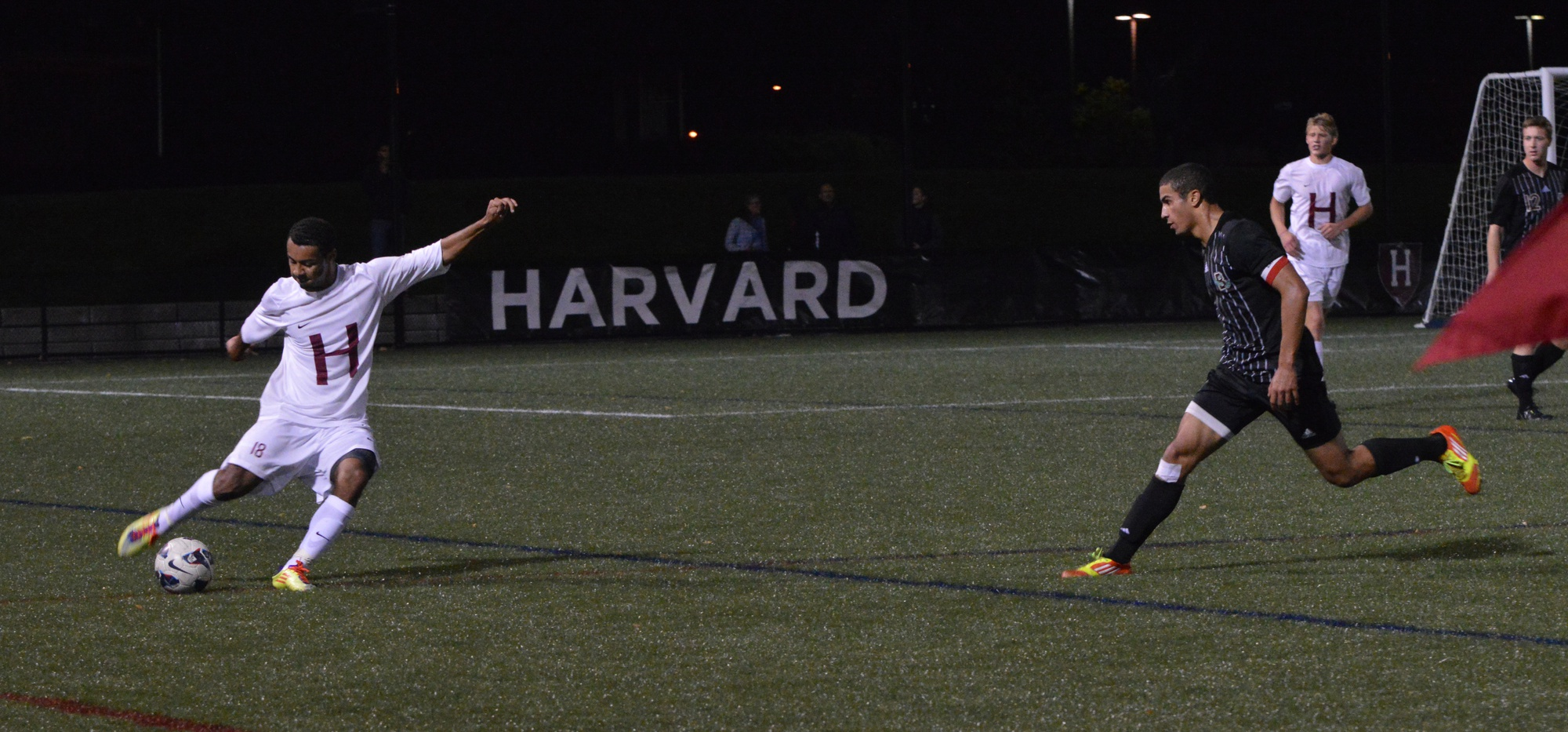 Andrew Wheeler-Omiunu, shown here in previous action, scored a goal against Manhattan and notched an assist against Hartford. The Harvard men's soccer team won both games at home this weekend.