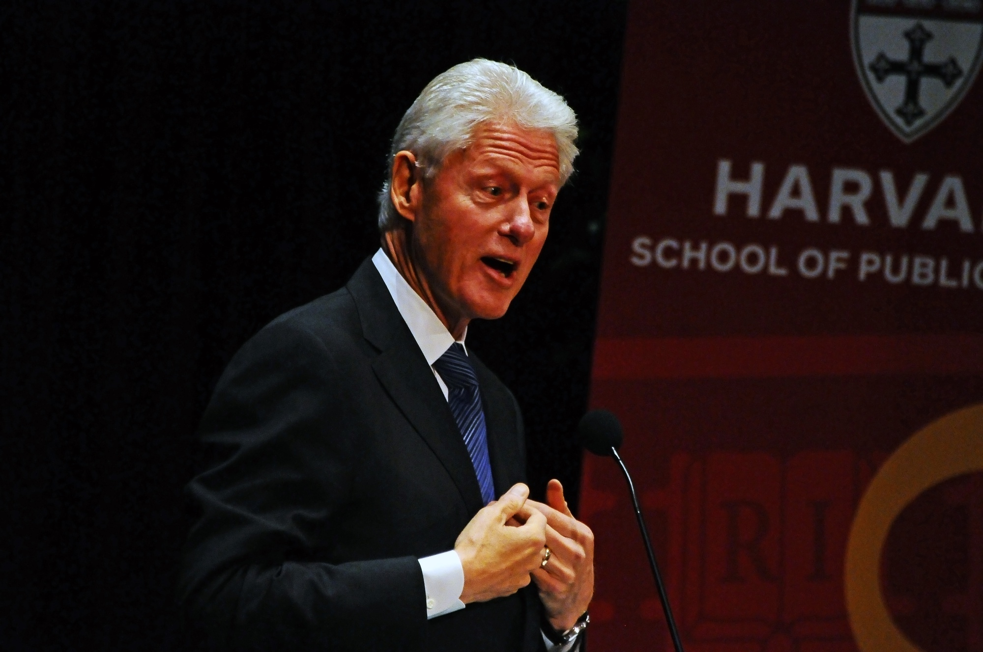 President Bill Clinton speaks about the importance of recognizing our similarities in fostering human and environmental well-being. Clinton and his daughter, Chelsea Clinton, were honored by the Harvard School of Public Health on Thursday for their efforts to further public health, including among other things the distribution of AIDS medication.