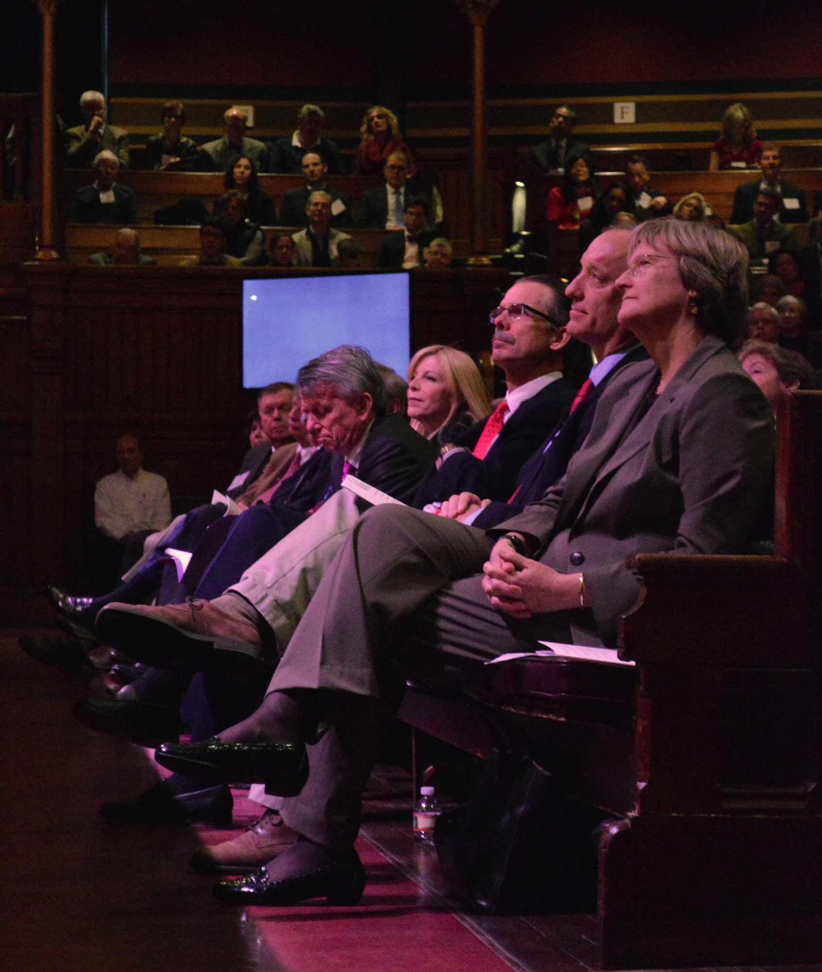 From right to left, University Drew G. Faust, FAS Dean Michael D. Smith, and campaign co-chairs Glenn H. Hutchins '77, Paul B. Edgerley, and Sandra M. Edgerley '84 watch FAS campaign co-chair Carl J. Martignetti '81 address the crowd at the FAS campaign launch event in Sanders Theatre Saturday morning.