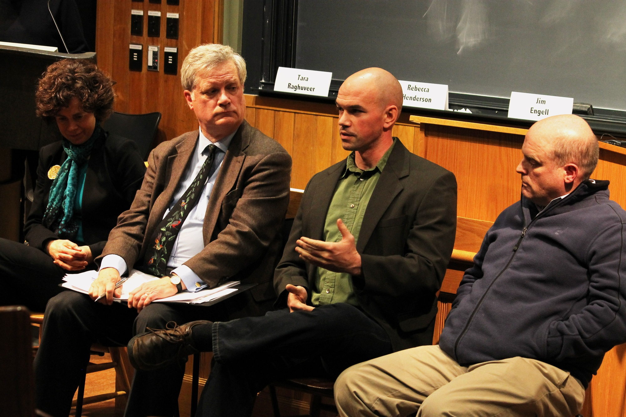 Tim DeChristopher, climate activist and Harvard Divinity School student, represents the student voice among a panel of Harvard professors at the Fossil Fuel Divestment Forum in Sever Hall on Friday.
