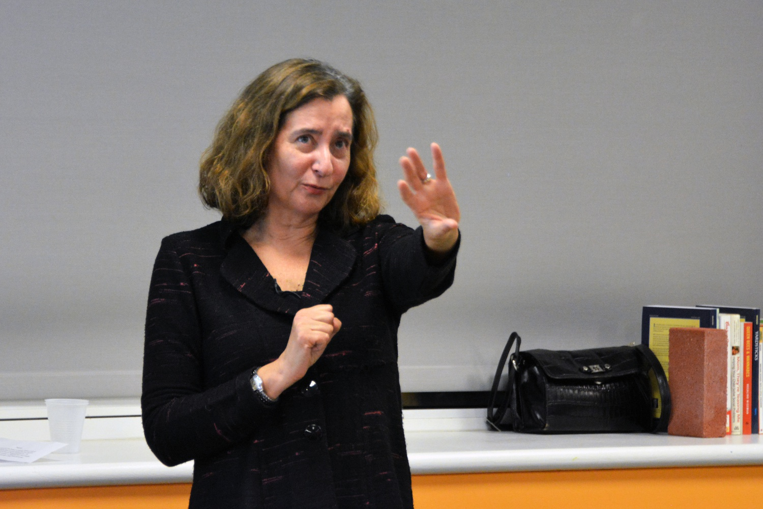 Professor Elisa New delivers a lecture, Poetry