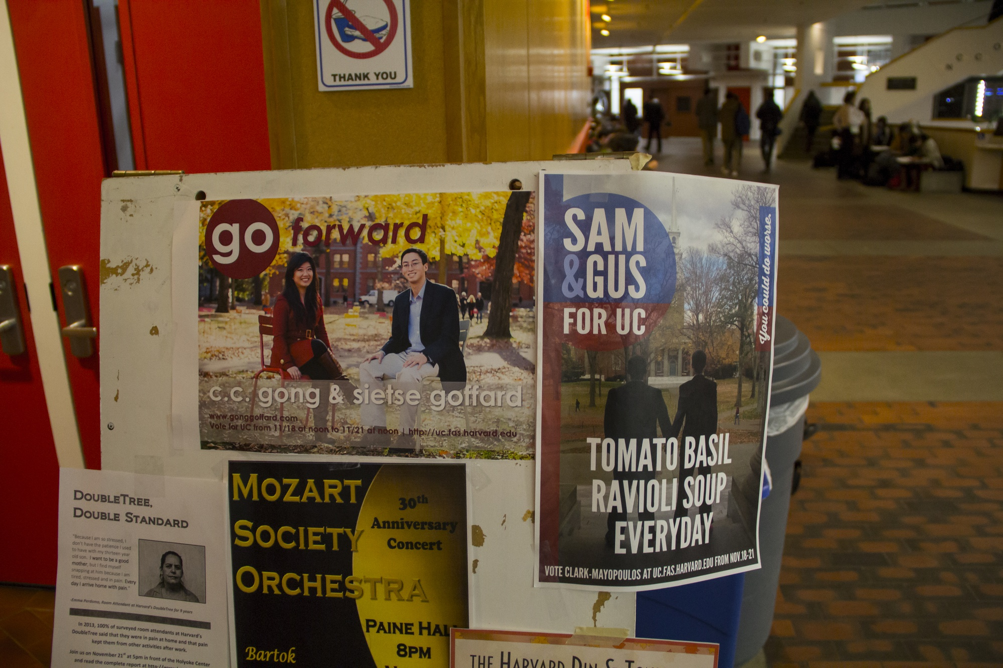 Posters for the UC presidential elections are posted in the Science Center. Campaigning began on Wednesday, and candidates quickly took to campus and the web to promote their platforms.