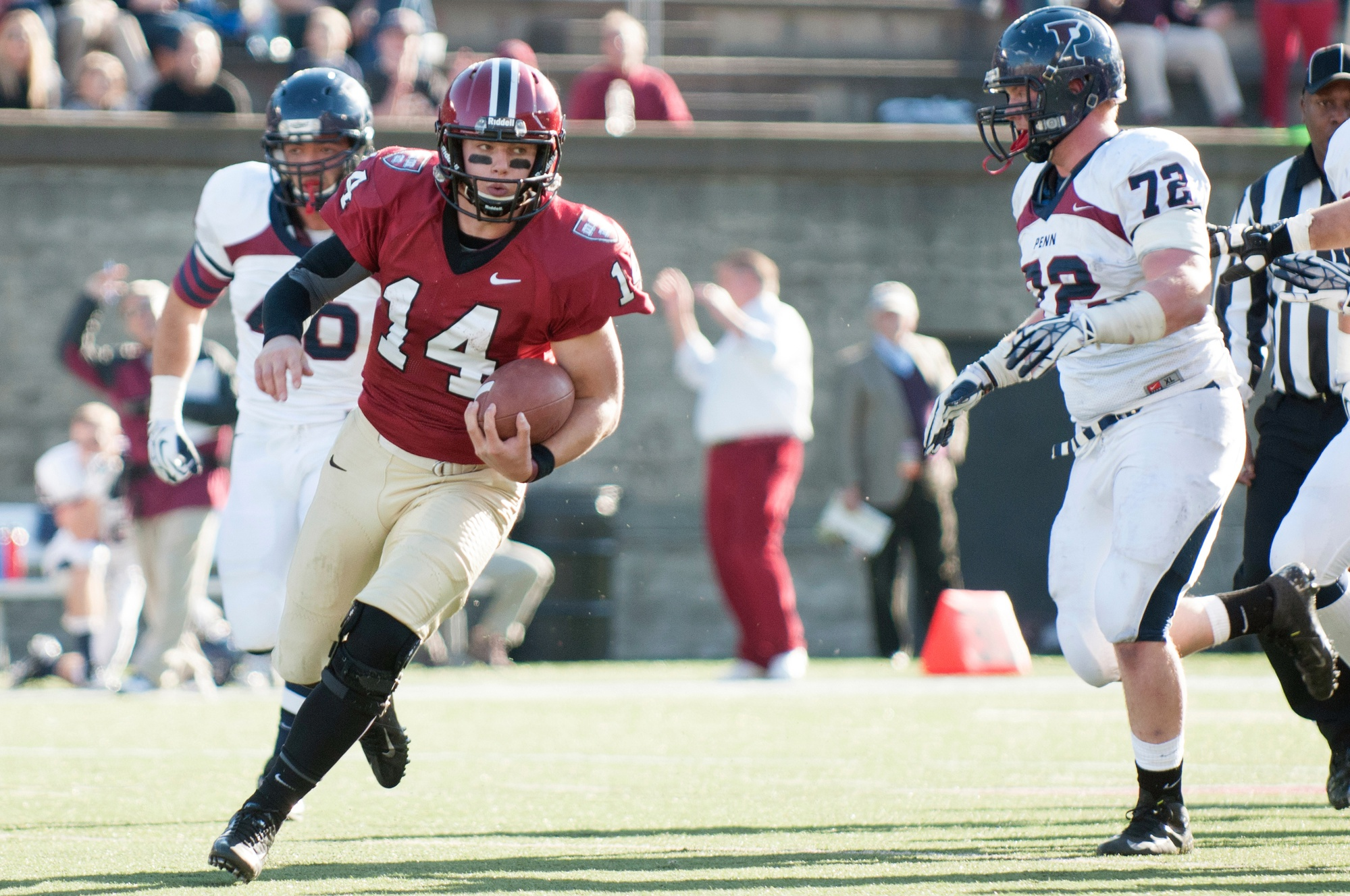 Harvard football coach Tim Murphy pulled junior quarterback Conner Hempel early in the third quarter with his team up 38-0. Hempel would return to the game, however, as Penn stormed back with 30 unanswered points, ultimately losing to the Crimson 38-30.