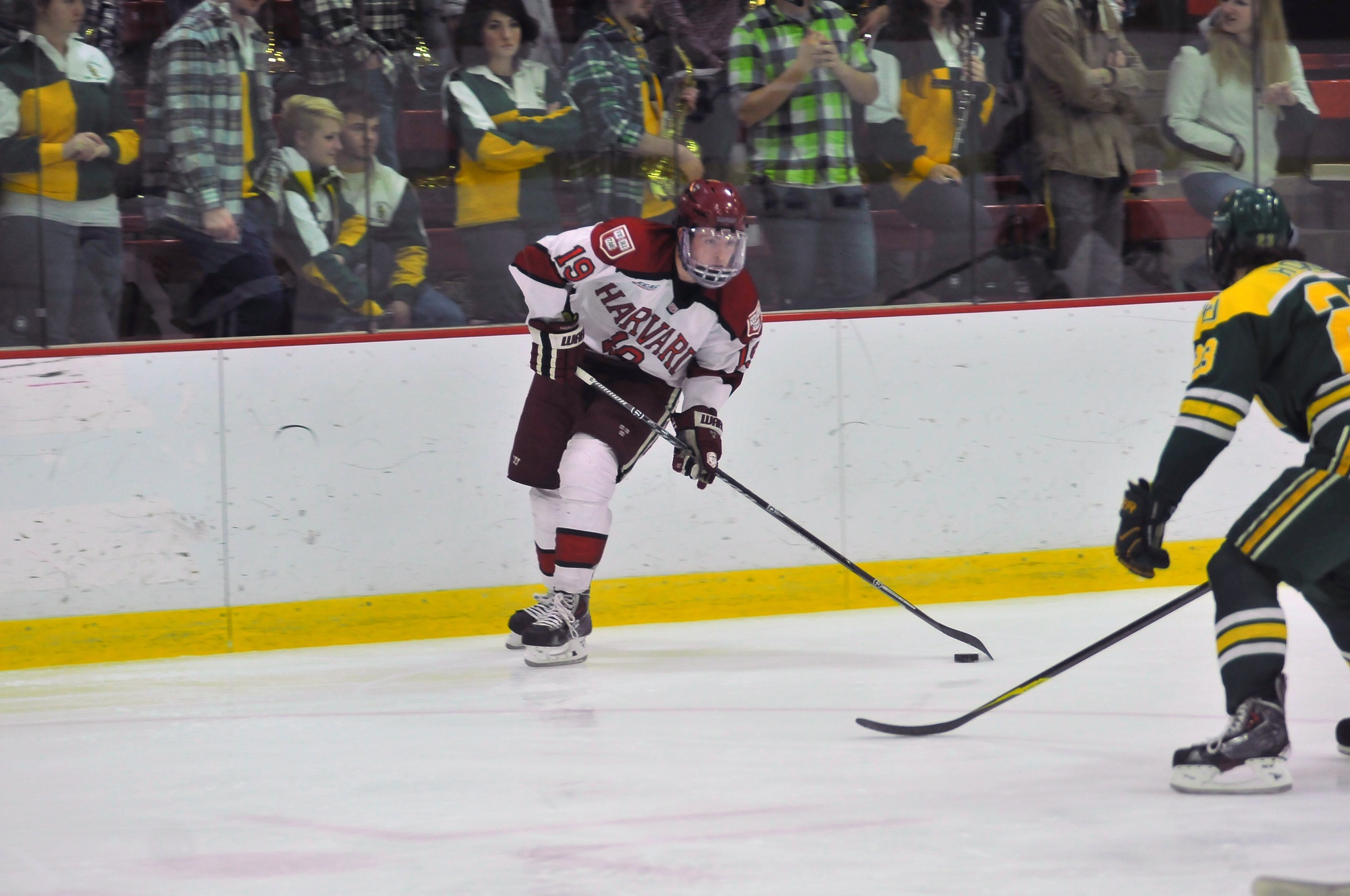 Sophomore forward Jimmy Vesey did it all for the men's hockey team over the weekend. The Massachussetts native scored three goals and added another assist as the Crimson split its matches, losing to No. 6 Quinnipiac before beating Princeton 5-3 on the road.