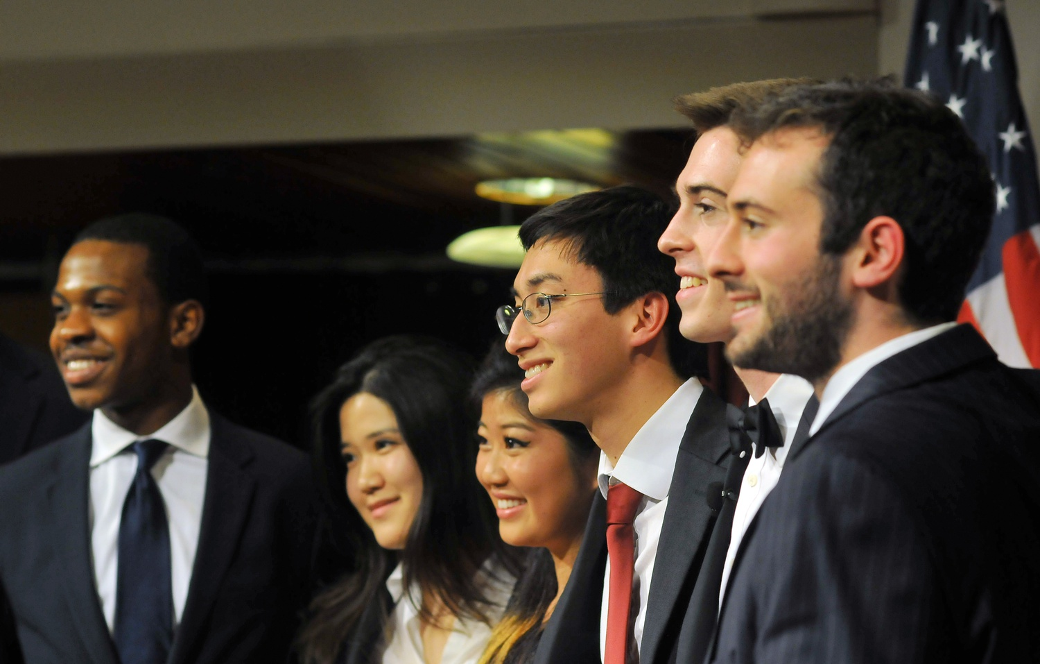 The three UC Presidential tickets, from left to right: Chika-Dike O. Nwokike '15 and Una Kim '15, C.C. Gong '15 and Sietse K. Goffard '15, Sam B. Clark '15/Gus A. Mayopoulos '15. The Presidential debate, hosted by the Institute of Politics, took place on Monday evening in the JFK Jr. Forum.