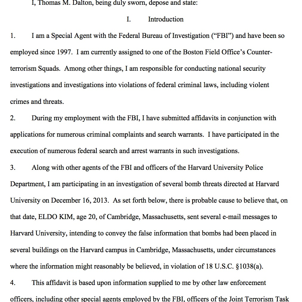 """The affidavit submitted by FBI Special Agent Thomas M. Dalton requesting """"that the Court issue a complaint charging ELDO KIM."""""""