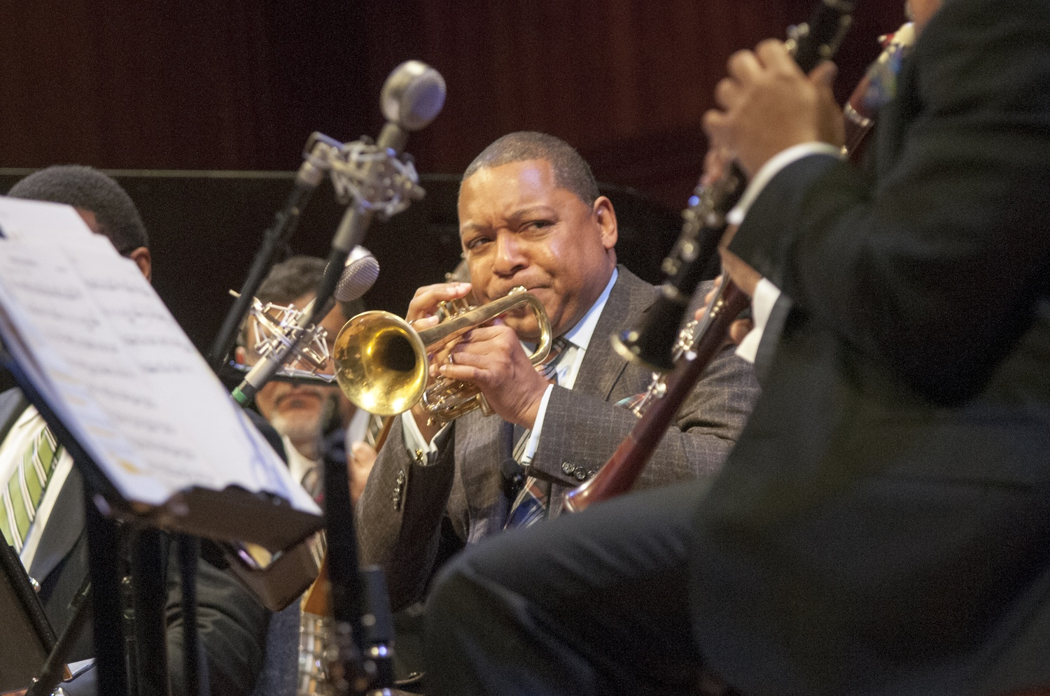 Wynton Marsalis finished his lecture series with a history of jazz from his hometown, New Orleans, Louisiana, on Thursday night, Jan. 30, in Sanders Theatre.