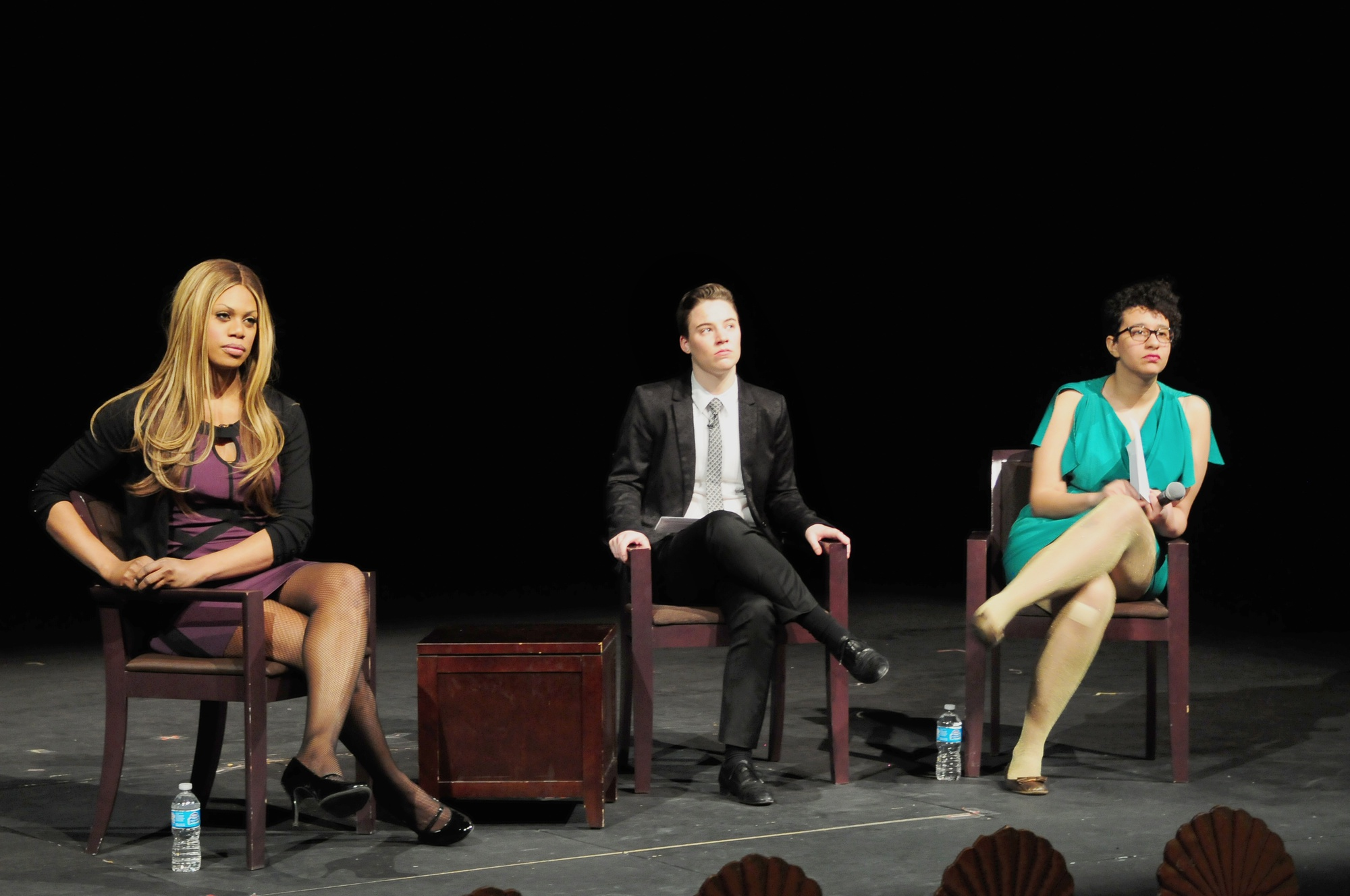 """""""Orange Is The New Black"""" actress Laverne Cox listens as an audience member asks a question in Farkas Hall on Feb 24."""