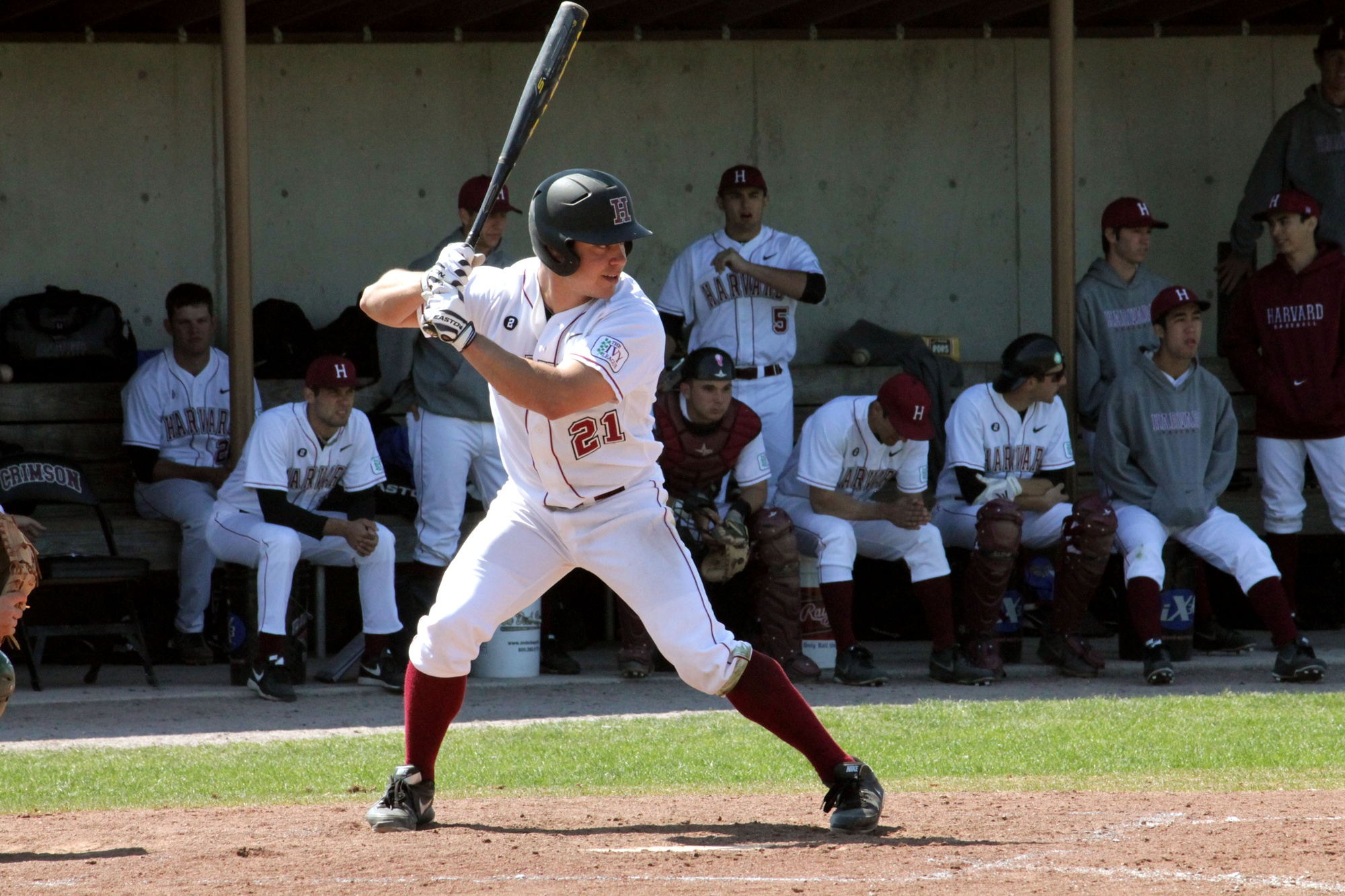 Junior outfielder Brandon Kregel, shown here in previous action, tallied four hits in Tuesday's doubleheader. After winning the first game in extra innings, the Harvard baseball team would drop the second contest by a score of 6-2.