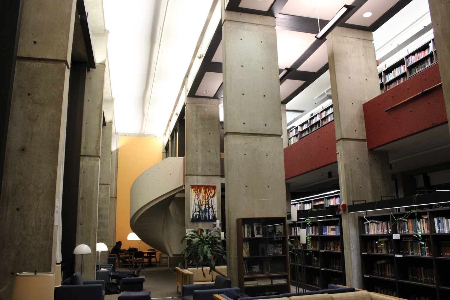 Mather's Library, complete with spiral staircase and quiet study areas.