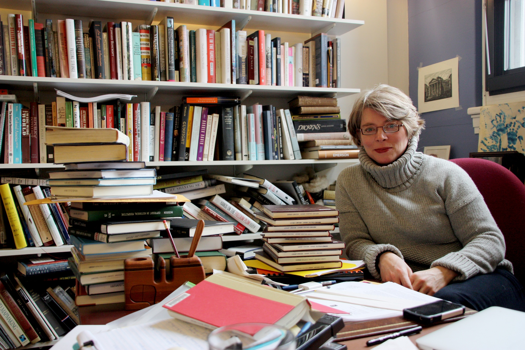 Jill Lepore, a professor of American history, in her office in Robinson Hall. Lepore is a staff writer for The New Yorker and the author of nine books.