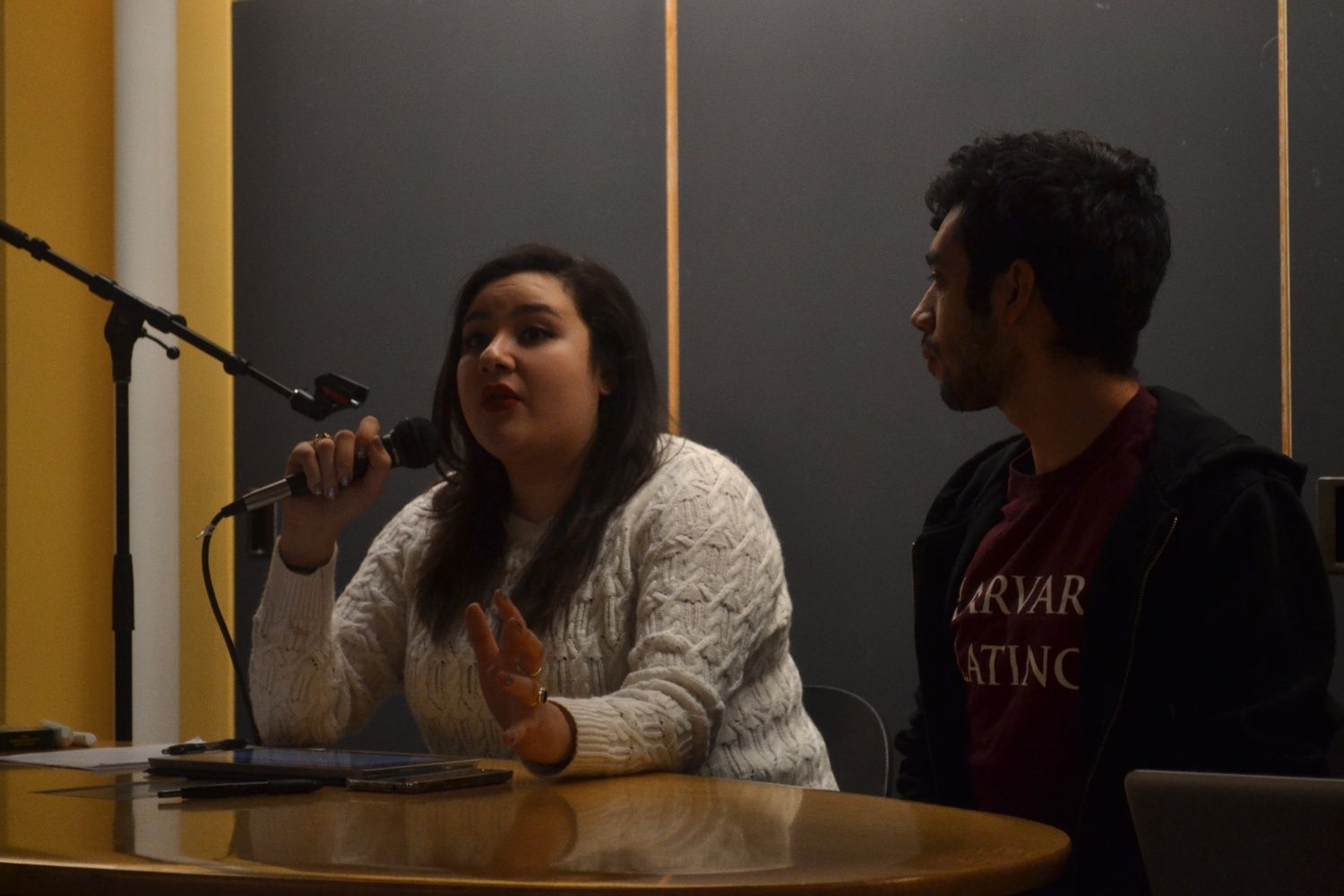 "Dorothy Villarreal discusses the purpose of the ""LatinX"" town hall meeting on Thursday, March 6. Students gathered in Ticknor Lounge to raise concerns pressing the Latino community."
