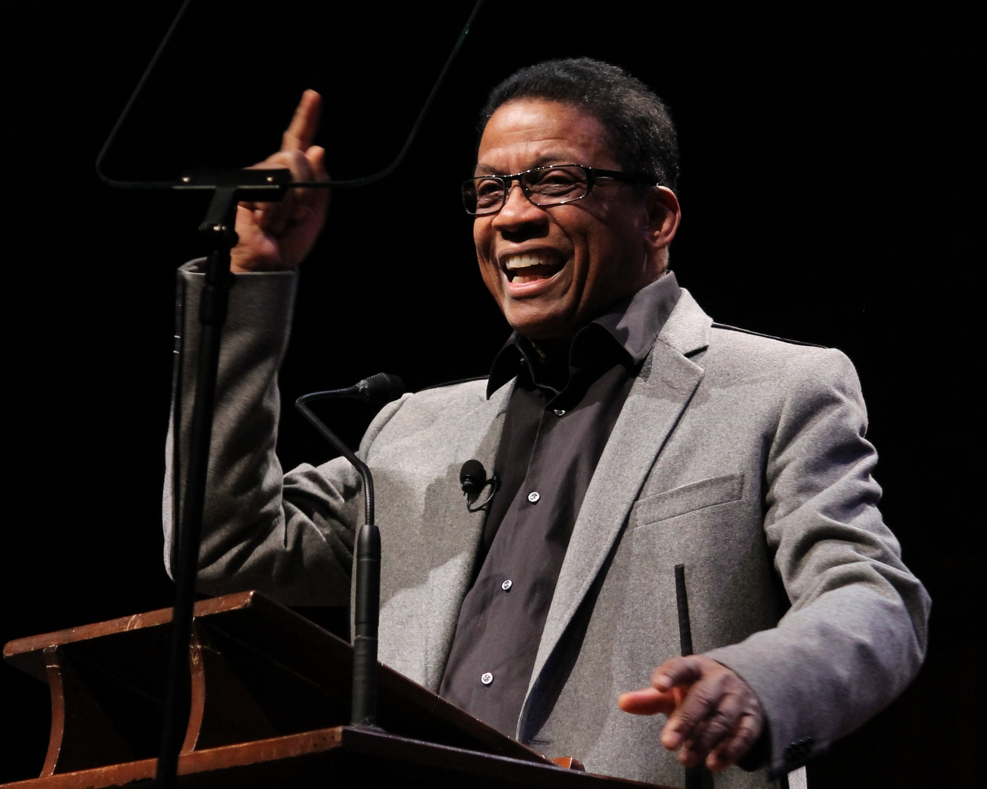 Herbie Hancock, jazz pianist and keyboardist, speaks about melding music and technology at the fourth lecture in the Norton Lecture series Monday afternoon in Sanders Theatre.