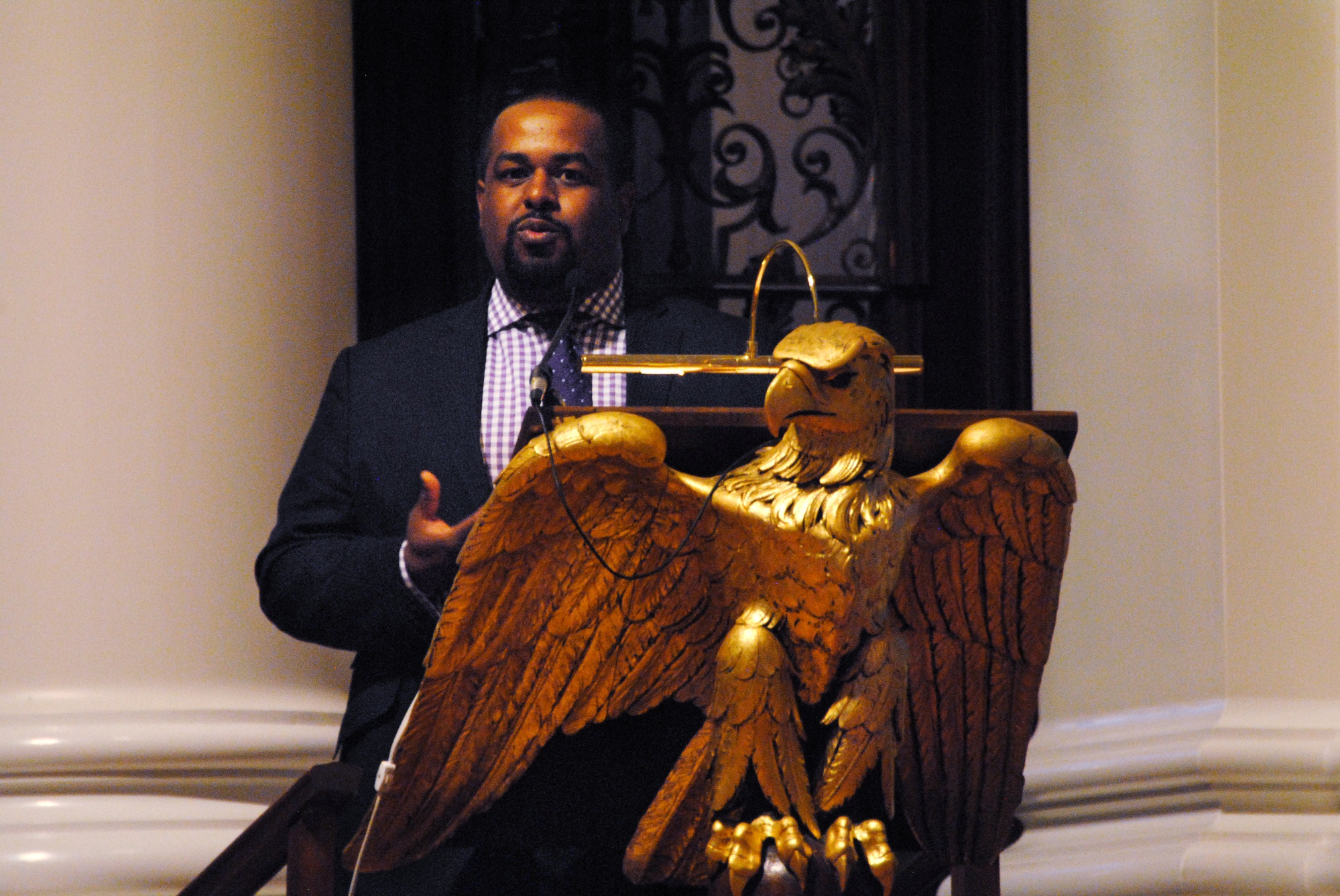 Joshua DuBois, former Special Assistant to President Obama and Executive Director of the White House Office of Faith-Based and Neighborhood Partnerships, gives the William Belden Noble Lecture in Memorial Church on Monday.