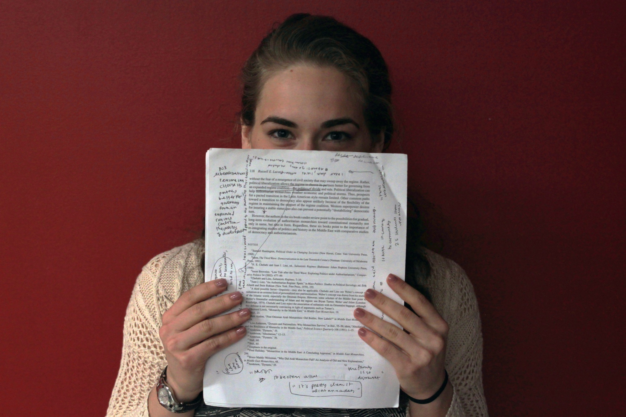 Mallory J. Weiss '15 is writing an original play for her creative thesis.
