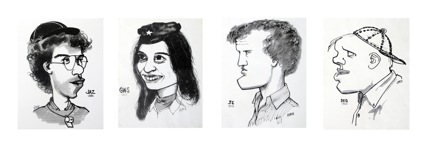 From left to right, caricatures of Jeff A. Zucker '86, Gay W. Seidman '78, Jim Cramer '77, and Donald E. Graham '66, all former presidents of the Crimson drawn by David Royce. Royce died on April 4. He was 82.