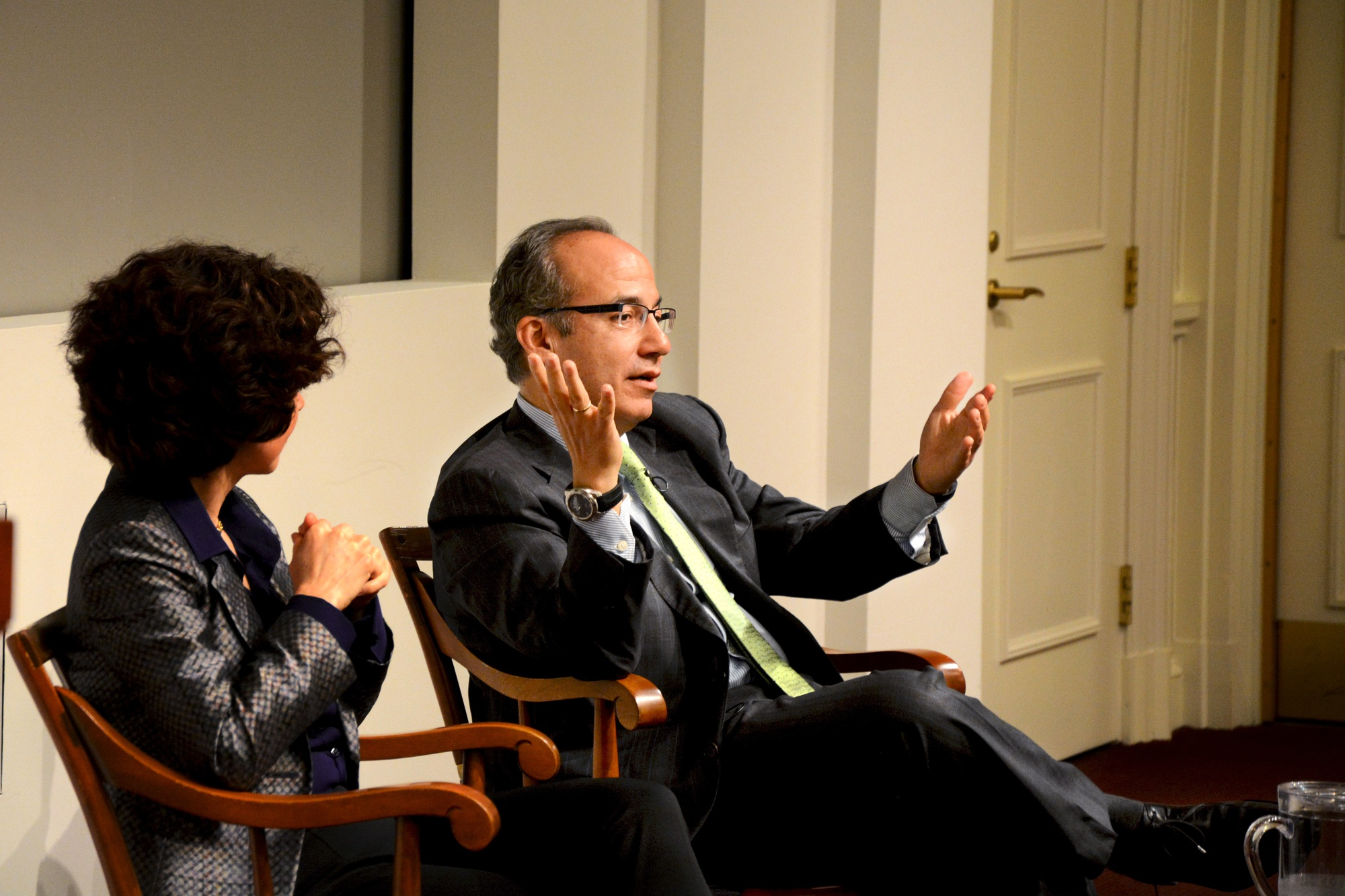 """Felipe Calderon, former Mexican President, speaks at Harvard Business School on April 14 during his lecture """"Climate Change and Business"""" in Sprangler Auditorium."""