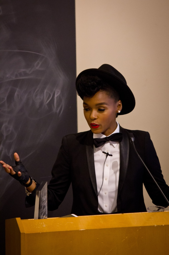 Janelle Monáe, who performed at Yardfest this past weekend, receives The Women's Center's Award for Achievement in Arts and Media 2014. At the award ceremony she spoke about different questions of identity, including sex, gender, and sexuality, in her performances.