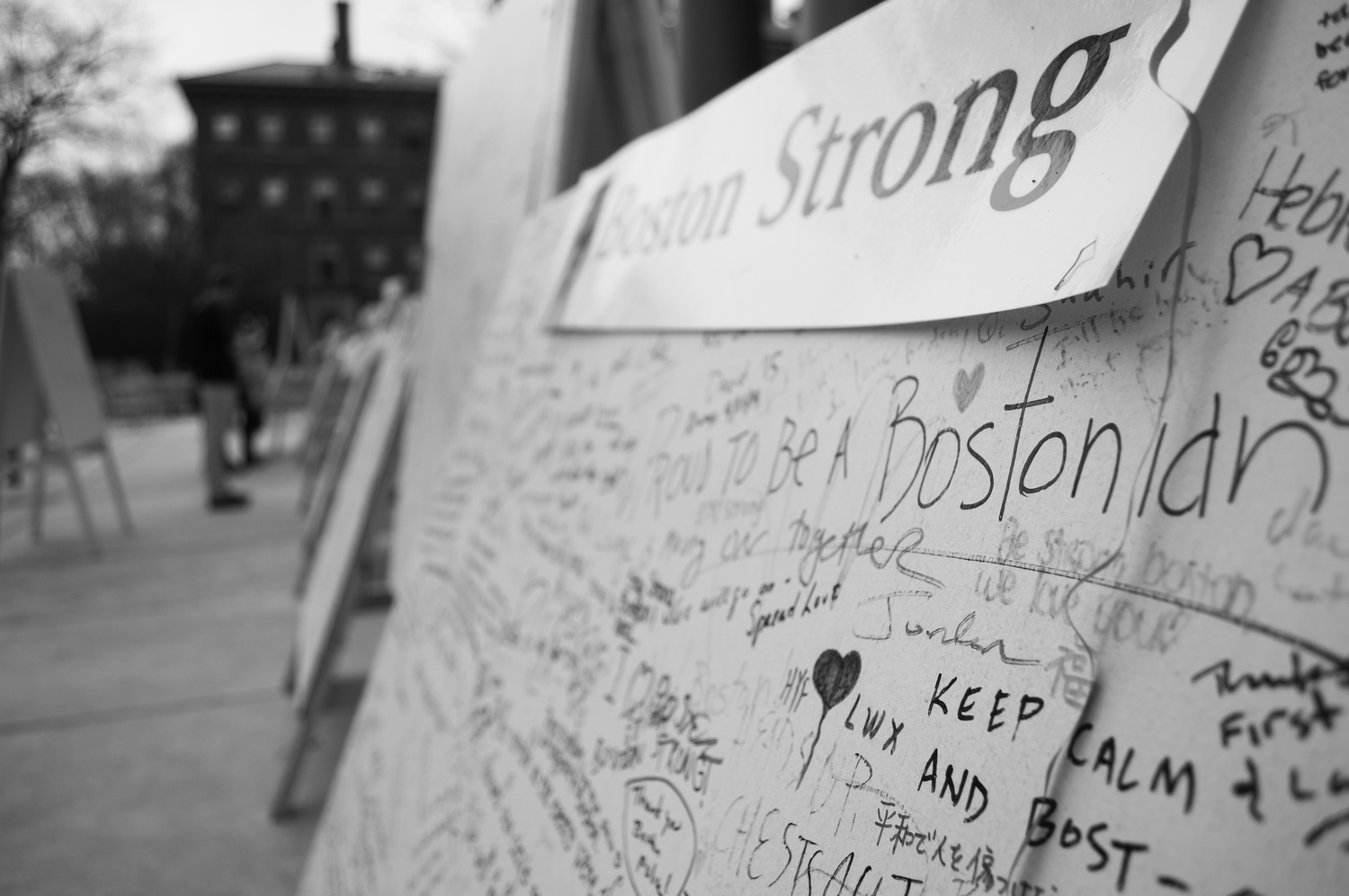 Handwritten messages line the remembrance walls brought out for the anniversary of the Boston Marathon Bombings.
