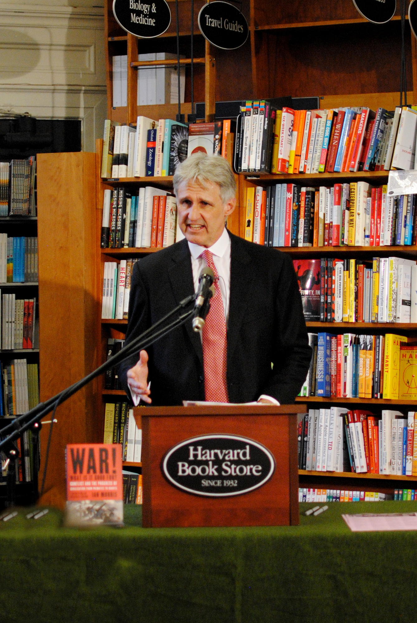 """Stanford Professor Ian Morris talks about his new book, """"War! What Is It Good For?"""" at the Harvard Book Store on April 21."""