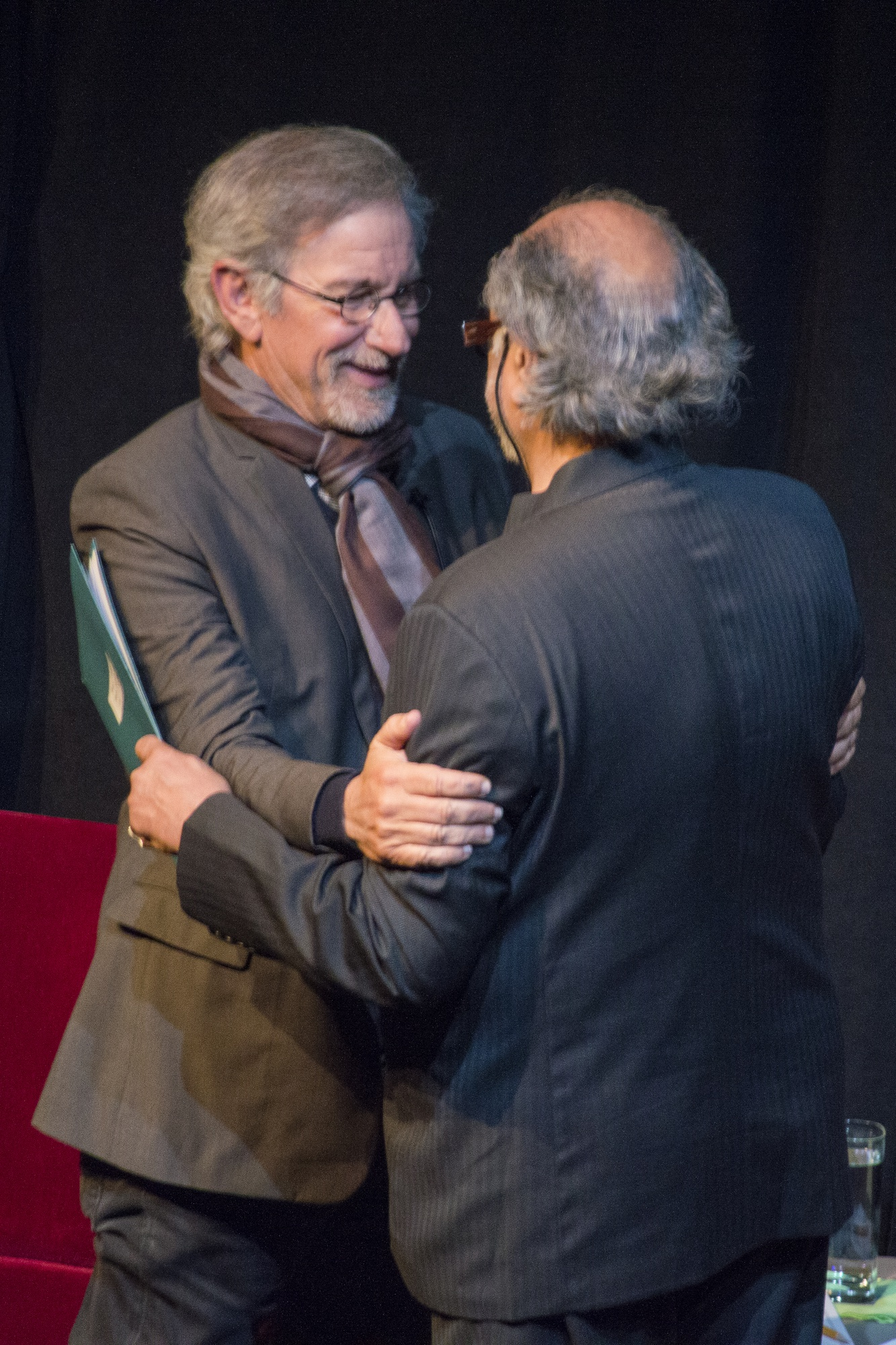 Academy Award-winning director Steven Spielberg joined Director of the Mahindra Humanities Center Homi K. Bhabha in a talk and question-and-answer session with members of the Harvard community Tuesday night.