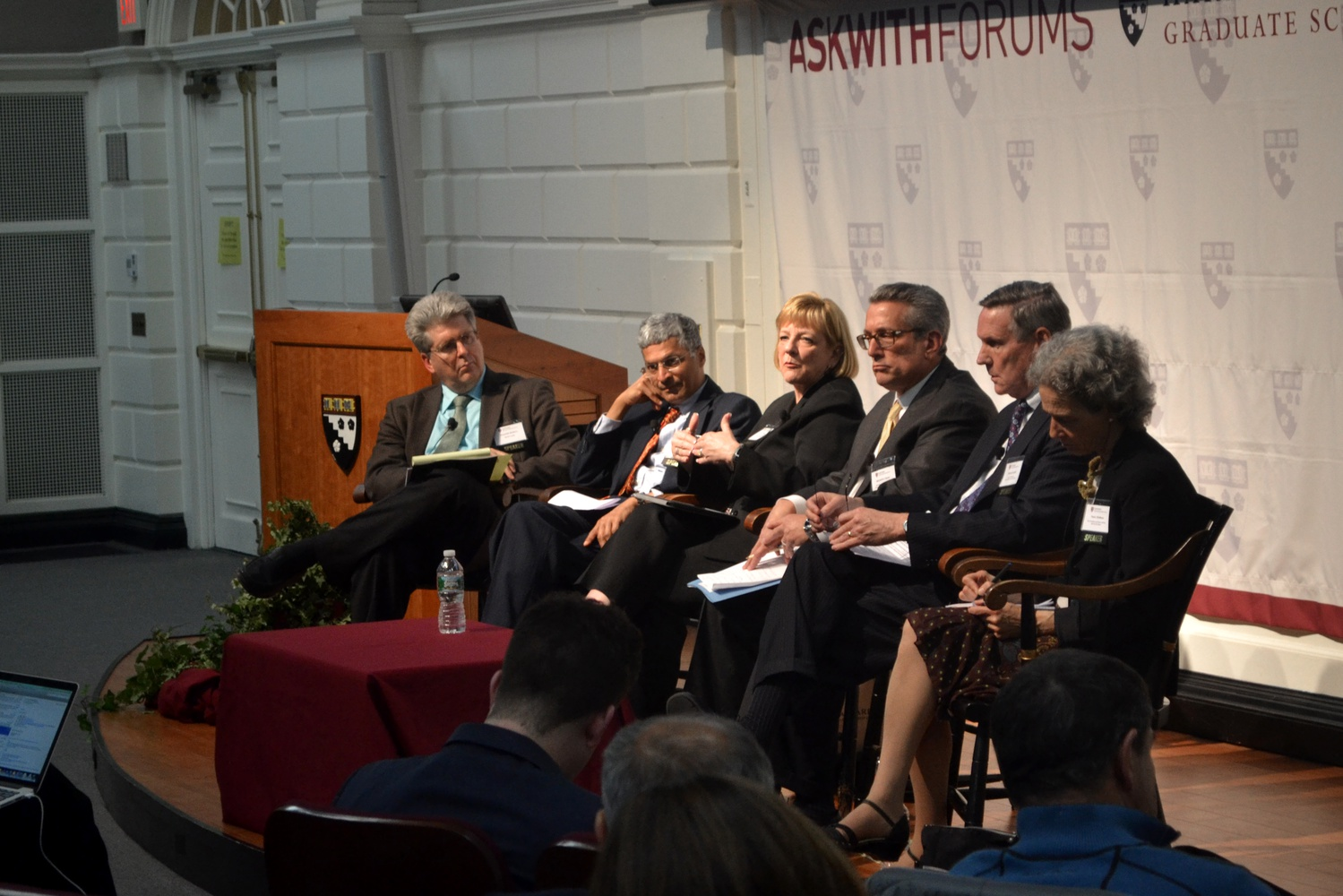 Panelists discuss the current state of K-12 education in a Harvard Graduate School of Education Askwith Forum on Thursday, April 24.
