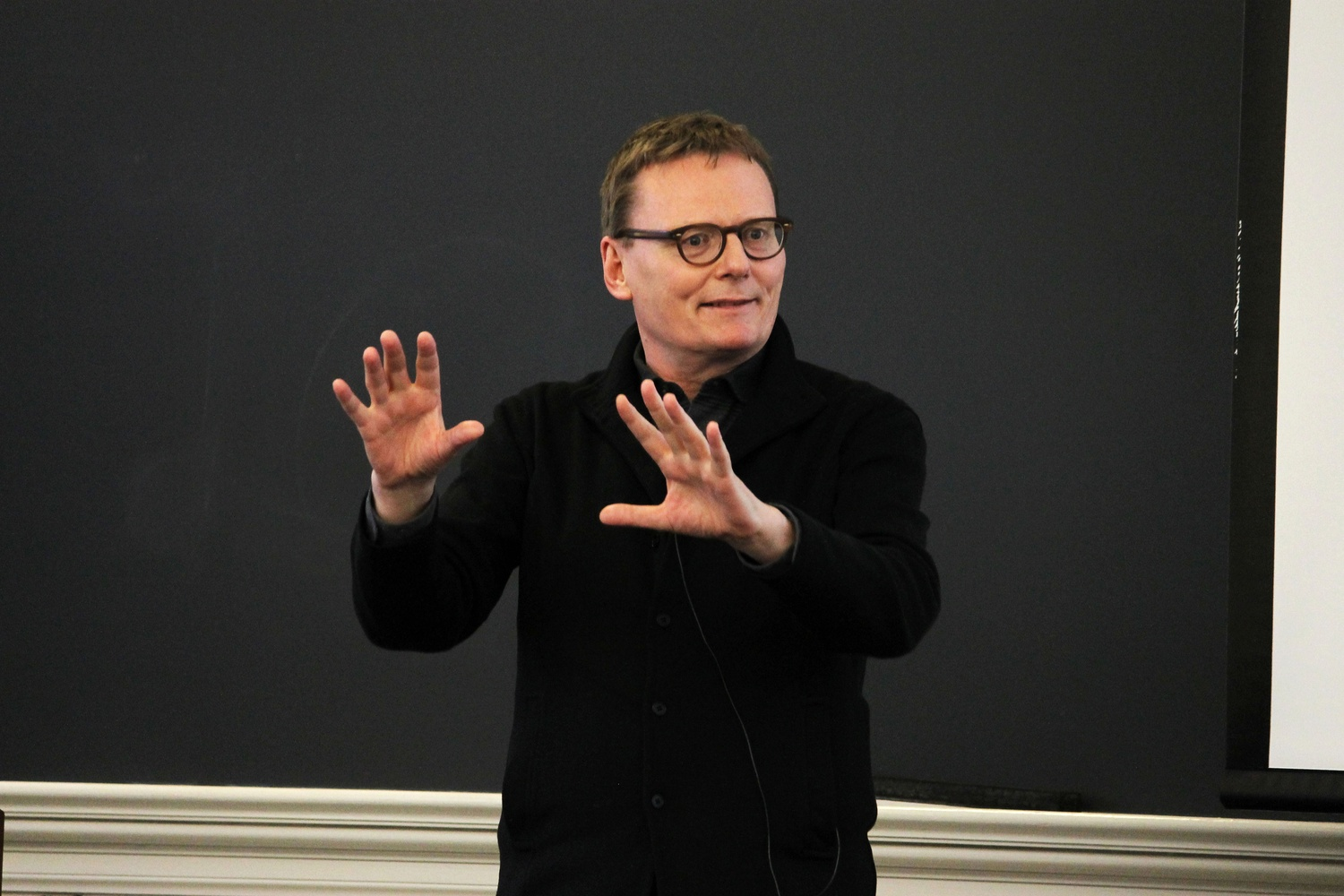 """James Robinson, professor of Government, speaks about his book, """"Why Nations Fail"""" at the Innovation for Greece Conference sponsored by the Harvard College Hellenic Society on Saturday."""