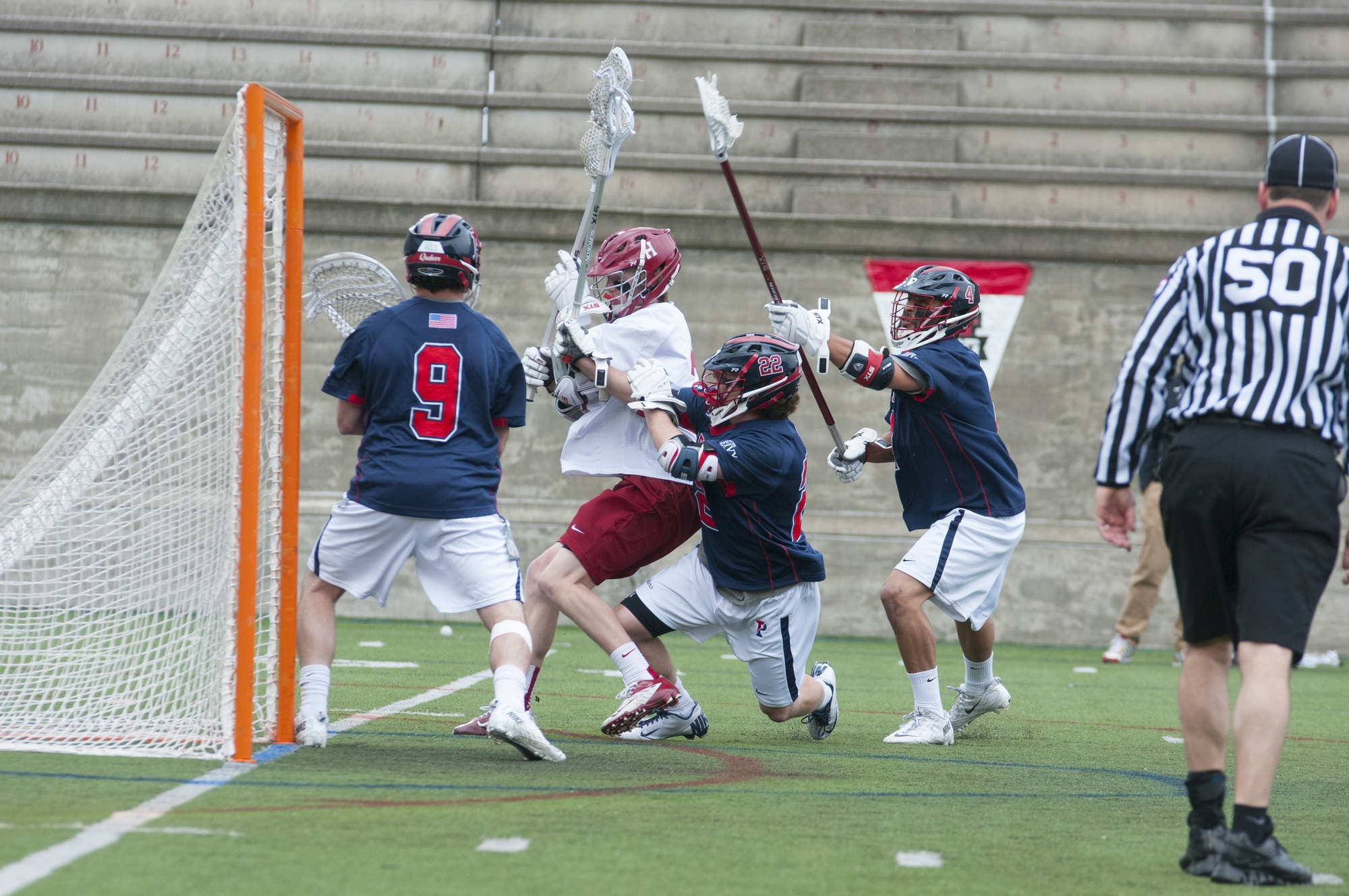The men's lacrosse team could not clinch an automatic bid to the NCAA Tournament after falling to Penn Sunday afternoon, 7-5.