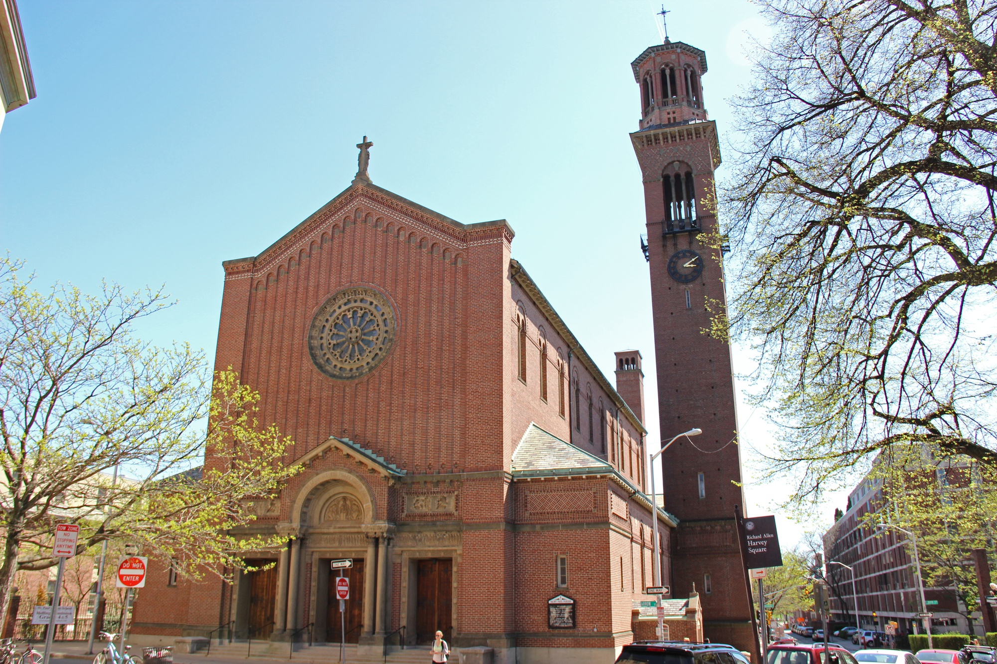 """The exterior of St. Paul Catholic Church on Mount Auburn St. In association with the Archdiocese of Boston, the church will be holding a series of events on Monday in response to the """"black mass"""" staged by Harvard Extension School students."""