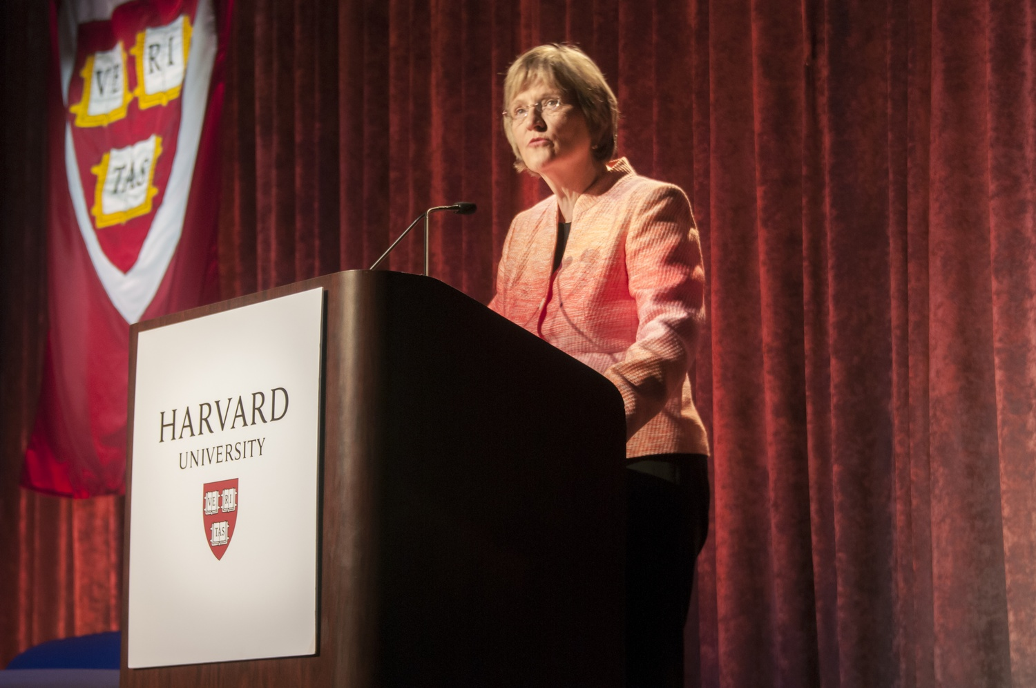 University President Drew G. Faust provides the keynote speech at the Your Harvard: New York event organized by the Harvard Alumni Association on the USS Intrepid in New York City.