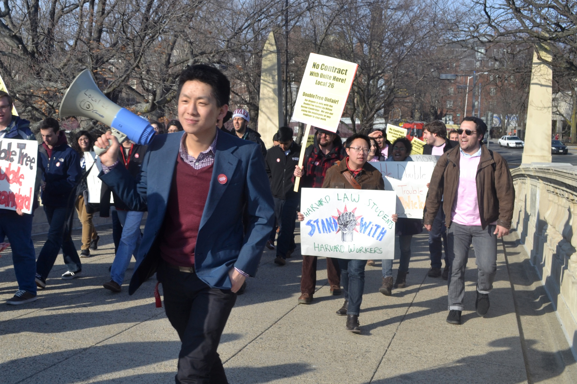 Harvard College and Harvard Kennedy School students joined workers and local community members in protesting the Doubletree Hotel in Allston in this file photo on Thursday, March 27.